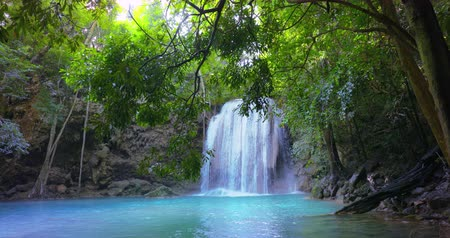 érintetlen : Idyllic waterfall peaceful scene. Pristine nature of tropical jungle forest in Thailand Stock mozgókép