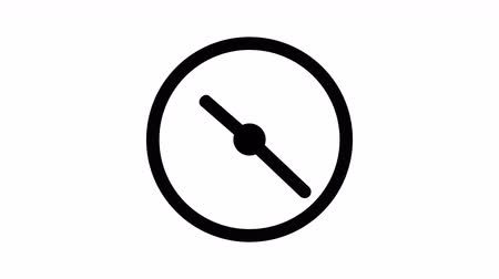 dakika : Stopwatch animated icon. Clock with moving arrows animation with optional luma matte. Alpha Luma Matte included. Stok Video