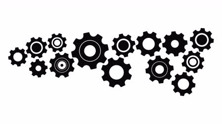 construction work : Cogs And Wheels animation with optional luma matte. Alpha Luma Matte included. Stock Footage