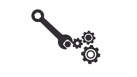 cogwheels : Wrench and gear animation with optional luma matte. Alpha Luma Matte included.
