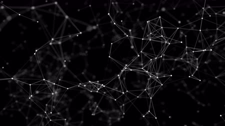 gray background : Plexus of abstract lines, triangles and dots. Loop animations. Stock Footage