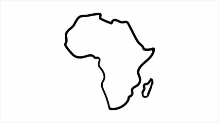 Africa Map sketch illustration hand drawn animation Alpha Luma Matte included. Vídeos