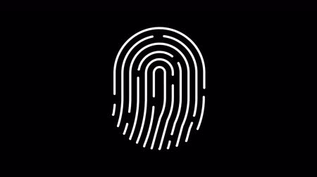 impressão digital : Animation of fingerprint alpha matte. Touch ID futuristic digital processing of biometric scanner concept. Security scanning of finger mobile phone unlock applications. 4K