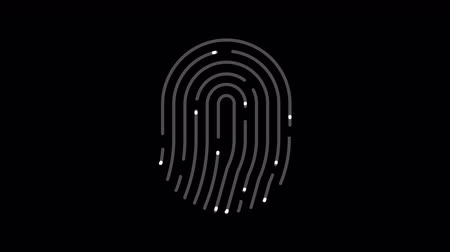 идентификация : Animation of fingerprint alpha matte. Touch ID futuristic digital processing of biometric scanner concept. Security scanning of finger mobile phone unlock applications. 4K