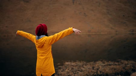 elevação : Camera moving around a beautiful young woman in yellow jacket stands on the shore of a mountain lake and raises arms into air Stock Footage