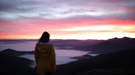Young beautiful woman stands on top of a mountain and raises her hands up to meet the sunset. Hiker woman standing with hands up achieving the top and enjoys incredible mountain landscape Stock Footage
