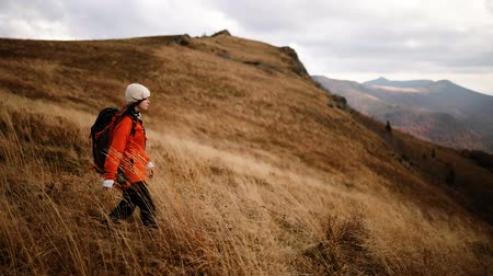 Hiker girl with backpack walks through tall grass on top of mountain. Romantic girl enjoys freedom in the mountains, happy and drunk on life, youth and happiness Stock Footage