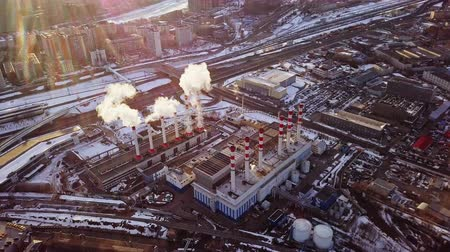 chp : The building of thermal power station in Moscow in the winter. Stock Footage