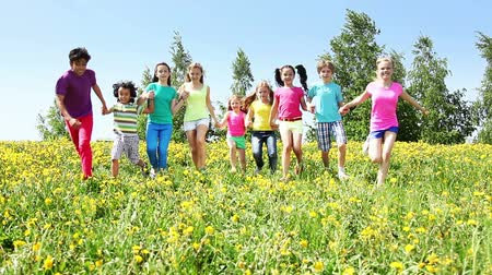 разнообразие : Large group of diverse looking kids boys and girls running in dandelion yellow field on spring sunny day Стоковые видеозаписи