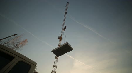 hawser : hoisting a concrete slab with crane using metal slings Stock Footage