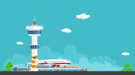 aerodrome : The plane lands at the airport, Control Tower and Airplane on the Background of the City, Travel and Tourism Concept , Air Travel and Transportation, HD Video Animation Footage Stock Footage