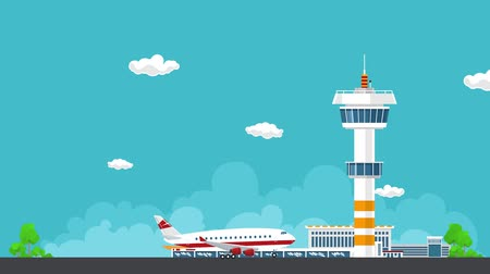 aerodrome : Airplane Takes Off from the Airport, Control Tower and Airplane on the Background of the City, Travel and Tourism Concept , Air Travel and Transportation, HD Video Animation Footage Stock Footage