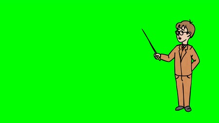 tanítvány : Animated Character Schoolboy with Glasses stands in full growth and says, curve contour, green screen,