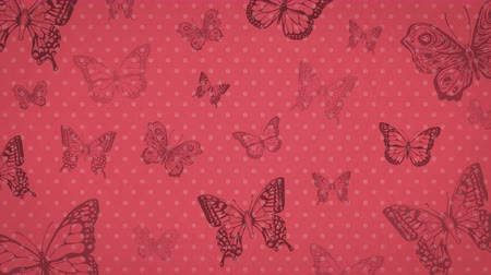 crumpled flower : Vintage animated background with butterfly. Red, cherry color. Texture of crumpled paper.