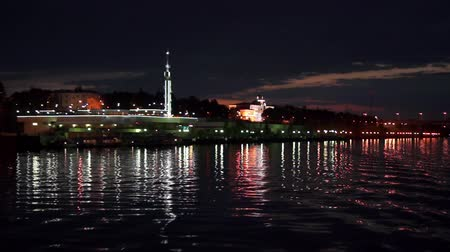 Night city of Yaroslavl view from the river