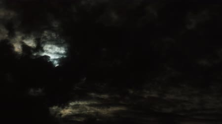 Night Sky Clouds Moon Stok Video