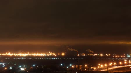 Outskirts industrial city at night