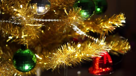 Yellow artificial Christmas tree Stok Video