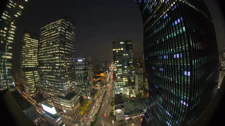 beautiful view : Seoul City Downtown Gangnam - Time lapse of traffic and architecture in downtown Gangnam. Seoul, Korea.