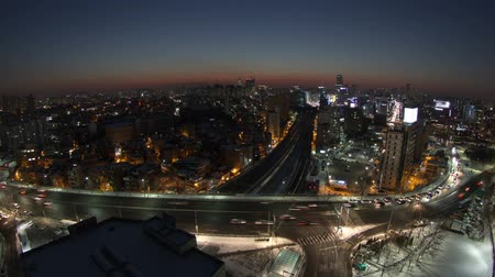 eye : 117) Zooming time lapse of traffic and architecture in Yeouido. Seoul, Korea.