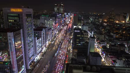 ügy : Seoul City Downtown Gangnam - Time lapse of traffic and architecture in downtown Gangnam. Seoul, Korea.