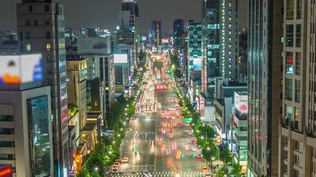 eye : Seoul City Birds Eye Traffic - Zooming time lapse of traffic and city lights in Gangnam Seoul.