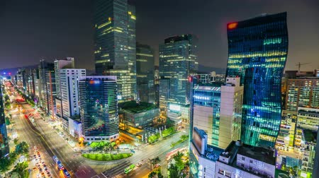ночная жизнь : Seoul City Downtown Gangnam - Time lapse of buildings and traffic in the center of Gangnam, Seoul.