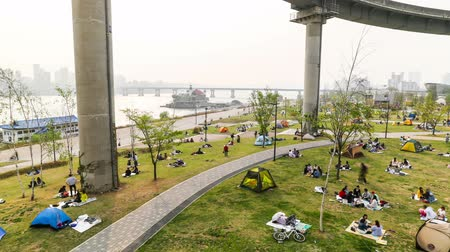 han river : Time lapse of of people walking and campinghaving picnics on the waterfront in seoul Stock Footage