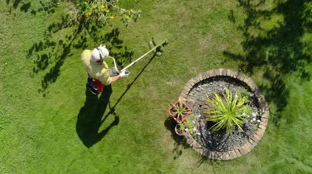 altura : Gardener mows. View from height