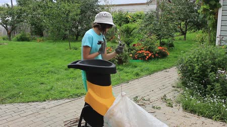 Girl processes branches with a garden shredder in the garden in August Stock Footage