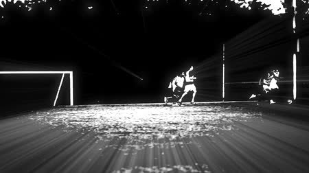 legal : Really cool black and white effects with lights striking of a soccer field with unrecognizable players in it.