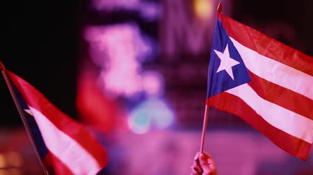 наследие : Evening shot of two Puerto Rican flags being held outdoors at an event.  SInce it is a close-up, aside from the flags only the hands of the people can be seen but no faces.