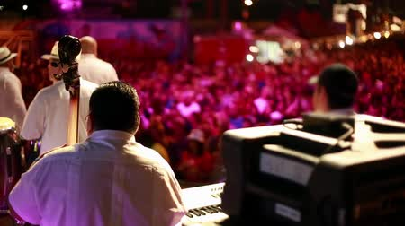 music band stage : Cool shot of musicians on stage playing before a live audience.  It was taken from backstage, in the evening.  Unrecognizable people on the shot. Stock Footage