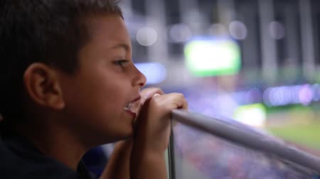 вентилятор : Kid watching a game from the stands at a stadium