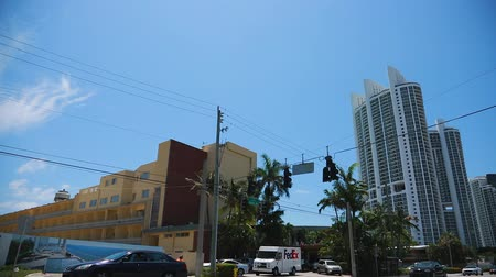 EDITORIALShot of buildings in Sunny Isles-Miami as you drive by Collins Ave. Shot with Steadicam