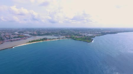 dominikana : Aerial shot of Caribbean island Dominican Republic area called Punta Torrecilla next to ocean during the day