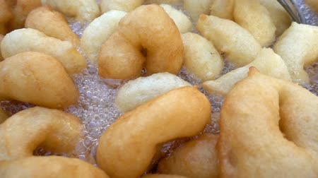 deep fried : Turkish Traditional Food Donut Named Lokma Stock Footage