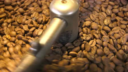 Roasted Coffee Beans in Roasting Machine