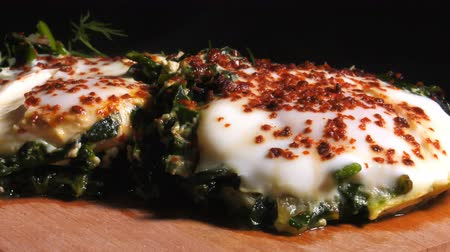 pan fried : Spinach with Eggs Stock Footage