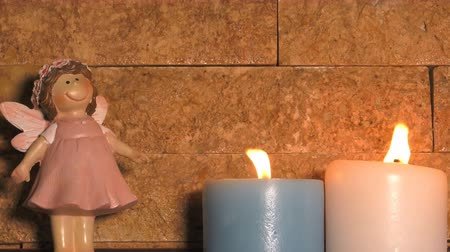 snow angel : Candle Light and Girl Baby Toy Stock Footage