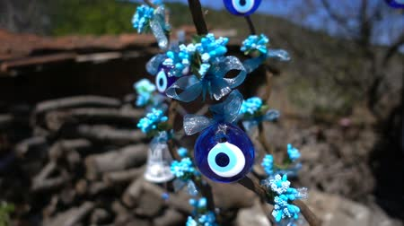 boncuklar : Colorful Evil Eye Bead Amulet on Tree Stok Video
