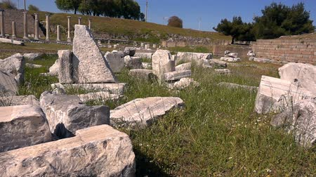 heykel : Ancient Medical Center Asklepion in Bergama Turkey Stok Video