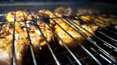 roston sült : Chicken Food on Barbecue Stock mozgókép