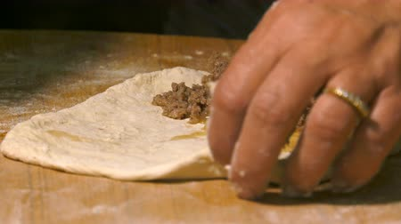 taco : Making Pita with meat Stock Footage