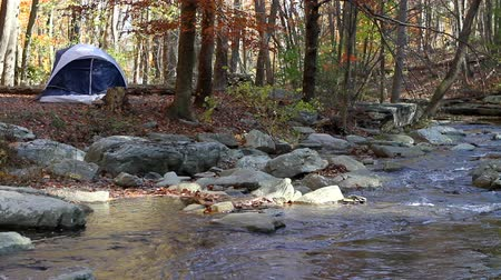 kamp : Small camping tent is pitched by a mountain stream in the woods in autumn with fall foliage.