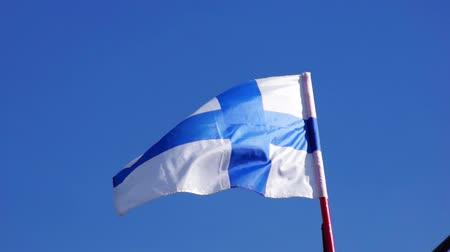 finlandês : Flag of Finland in air Stock Footage