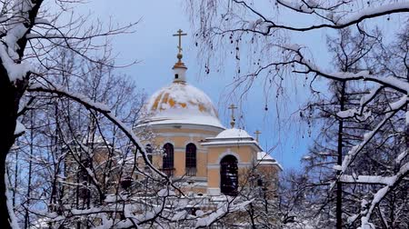 Zooming orthodox cathedral in winter