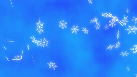 Loop Horizontal late rotation Snow crystals bright background