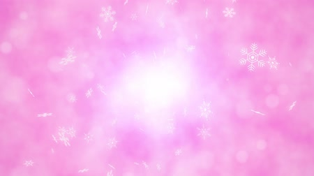 diamond dust : Loop back center rotation Snow crystals bright background Stock Footage
