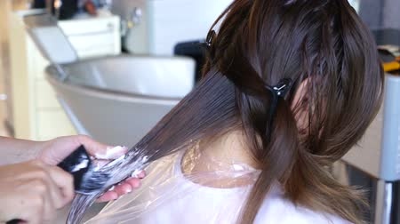 aswan : Professional Hairdresser Bleaching Girls Hair Stock Footage